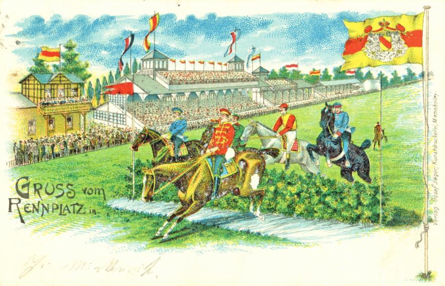 """""""Gruß vom Rennplatz"""": Diese Postkarte mit der Sprungszene aus Mannheim wurde im Mai 1901 gestempelt. BILD: MARCHIVUM, BILDSAMMLUNG, ALBUM NR. 1542–192"""