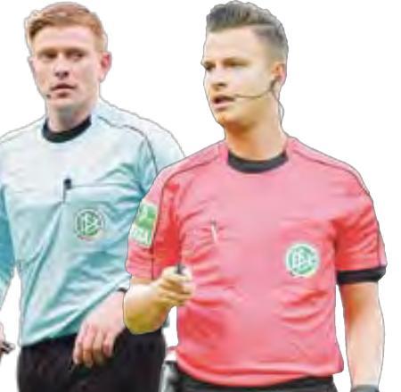 Pfeifen erstmals in der Bundesliga: Der Hannoveraner Robert Schröder (links) und Daniel Schlager (Rastatt).
