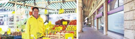 Genießen die Kunden auch zukünftig den persönlichen Service durch nette Verkäufer – hier Bettina Schmitz am Neumarkt – oder bestimmt zukünftig Leerstand unsere Innenstädte? Archiv-Fotos: Anna Schwartz