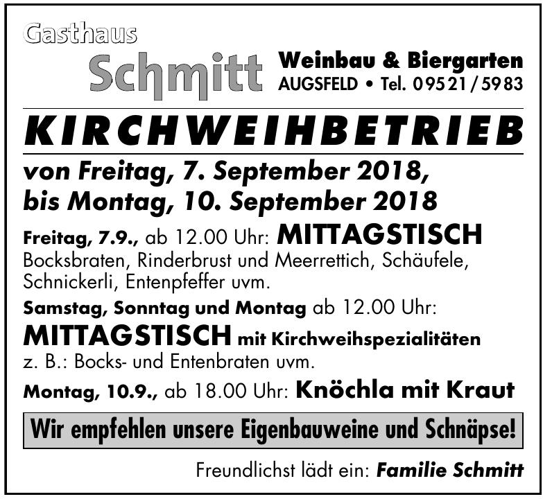 Gasthaus Shnitt Kirchweihbetrieb