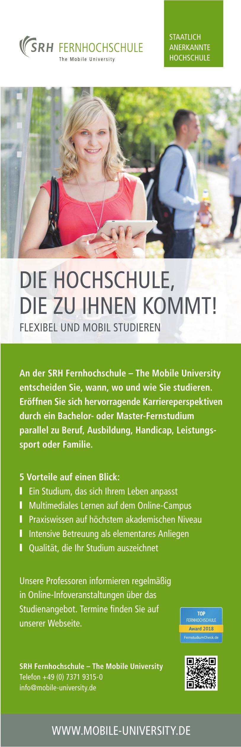 SRH Fernhochschule – The Mobile University