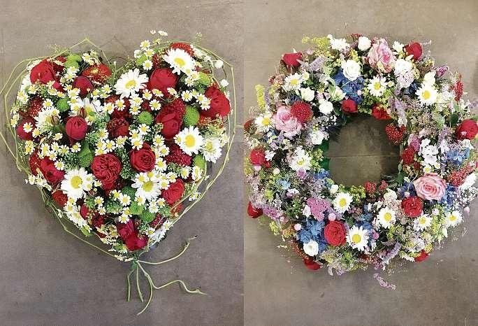 Trauerherz und Trauerkranz von Koehler Florist am Freilichtmuseum. FOTO: HFR