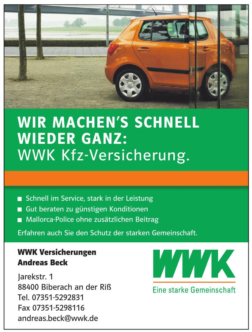 WWK Versicherungen Andreas Beck