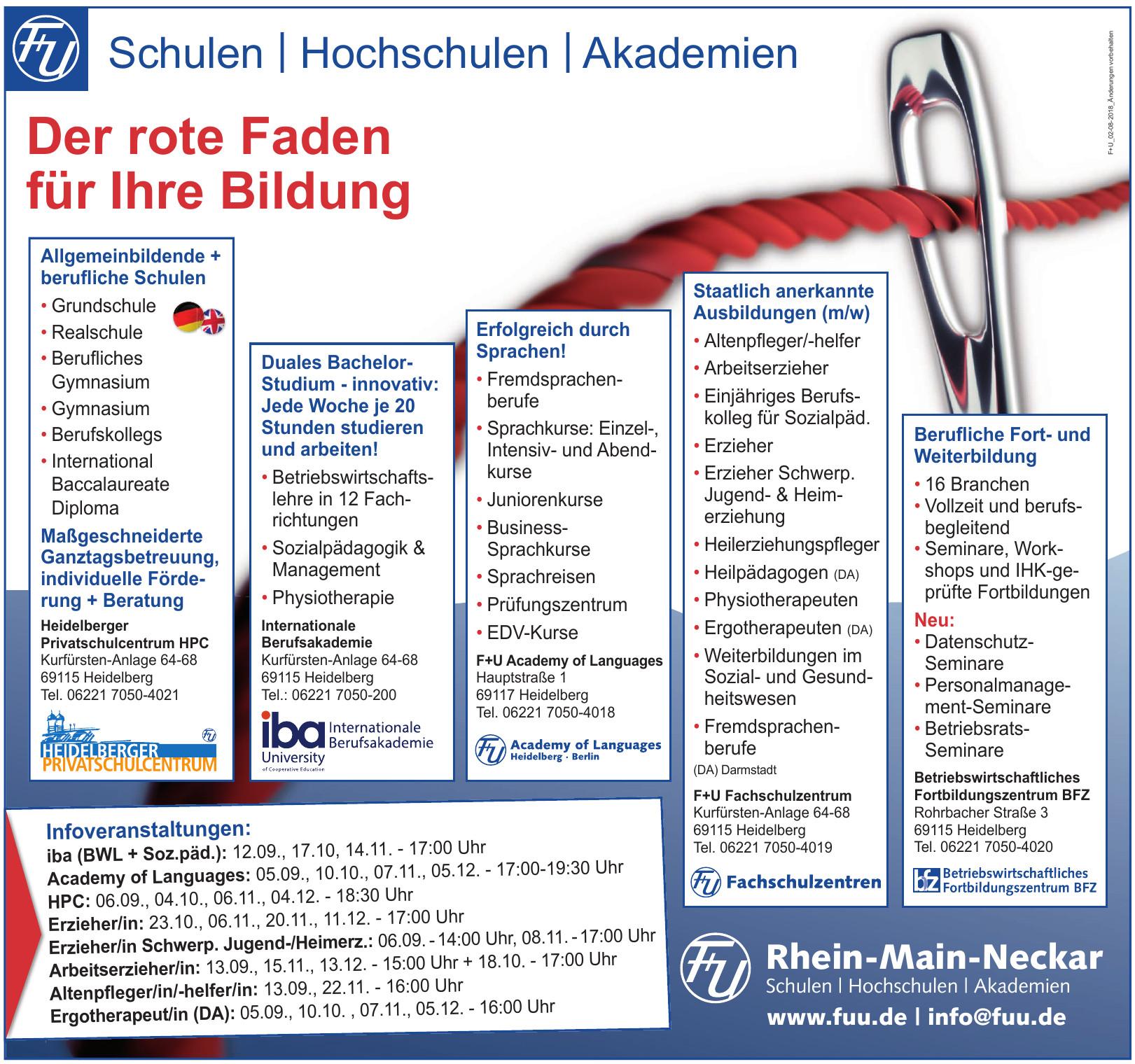Rhein-Main-Neckar Schulen/Hochschulen/Akademien - Heidelberger Privatschulcentrum HPC