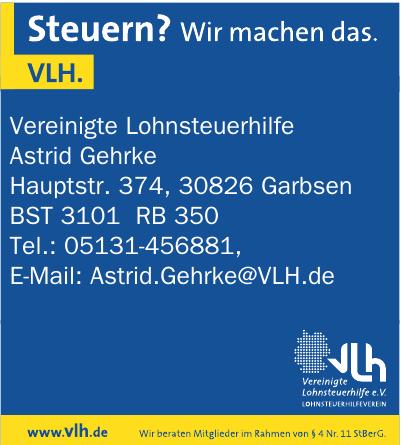 VLH Vereinigte Lohnsteuerhilfe e.V. Lohnsteuerhilfeverein - Astrid Gehrke