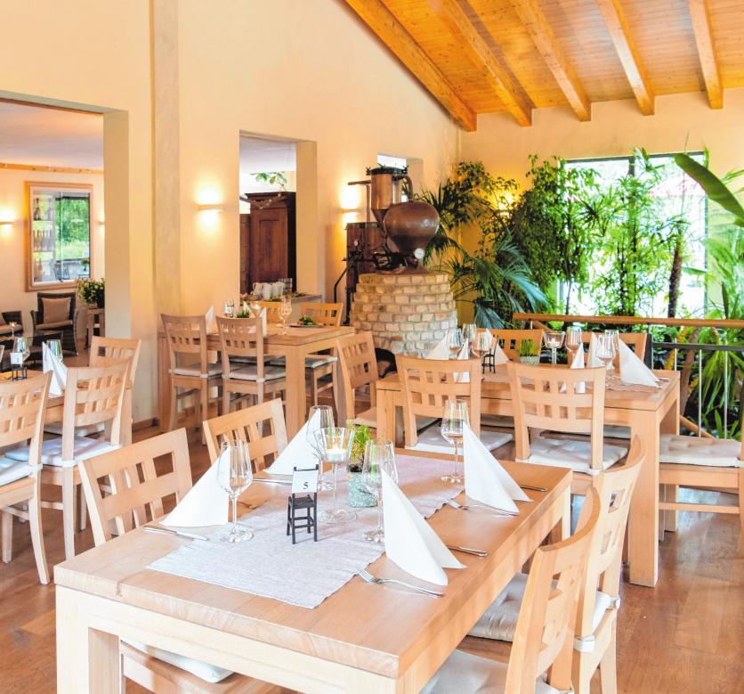 Der Gastraum, der so genannte Weingarten, des Bergkellers ist stilvoll eingerichtet und erlaubt einen schönen Blick ins Grüne.