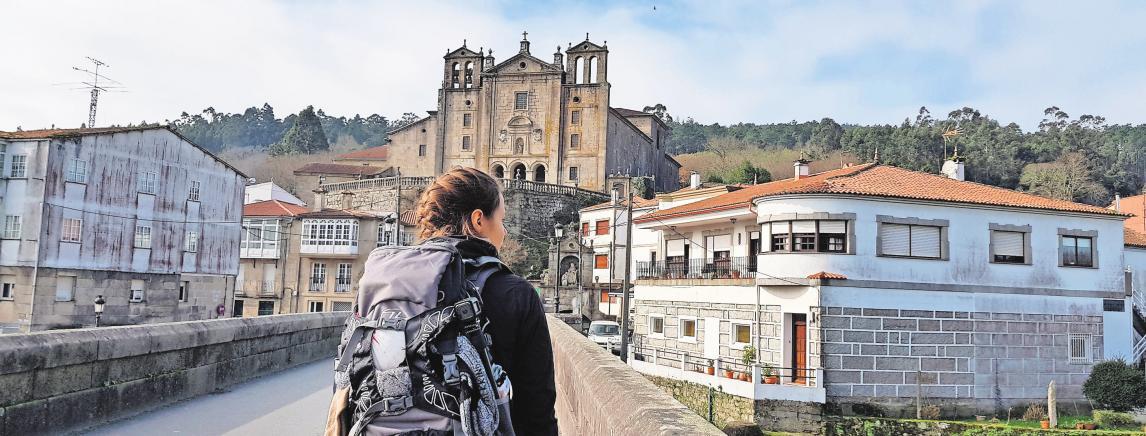 Ankunft in Padrón: Auf ihrer Jakobsweg-Wanderung haben Michaela und Kristin immerhin 200 Kilometer zu Fuß zurückgelegt. FOTO; PRIVAT