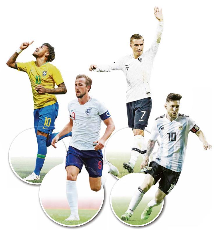 Werners WM-Stars - Sie können laut Werner das Turnier prägen: Brasiliens Neymar (von links), Englands Harry Kane, Frankreichs Antoine Griezmann und Argentiniens Lionel Messi.
