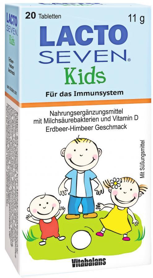 Lacto Seven Kids versorgt Kinder mit Milchsäurebakterien für eine gesunde Darmflora.Foto: Vitabalans