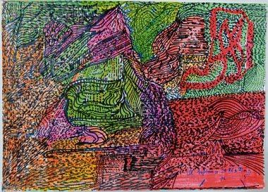 """Haci Sami Yaman: """"Schöner Garten"""" (34 x 48 cm, Acrylstifte und Fasermaler)"""