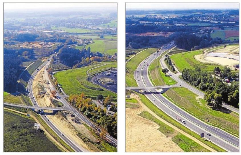 Der Ausbau schritt schnell voran: Wo im Oktober vergangenen Jahres nur zwei Spuren und Berge aus Sand lagen (links), verläuft inzwischen eine vierspurige Schnellstraße.