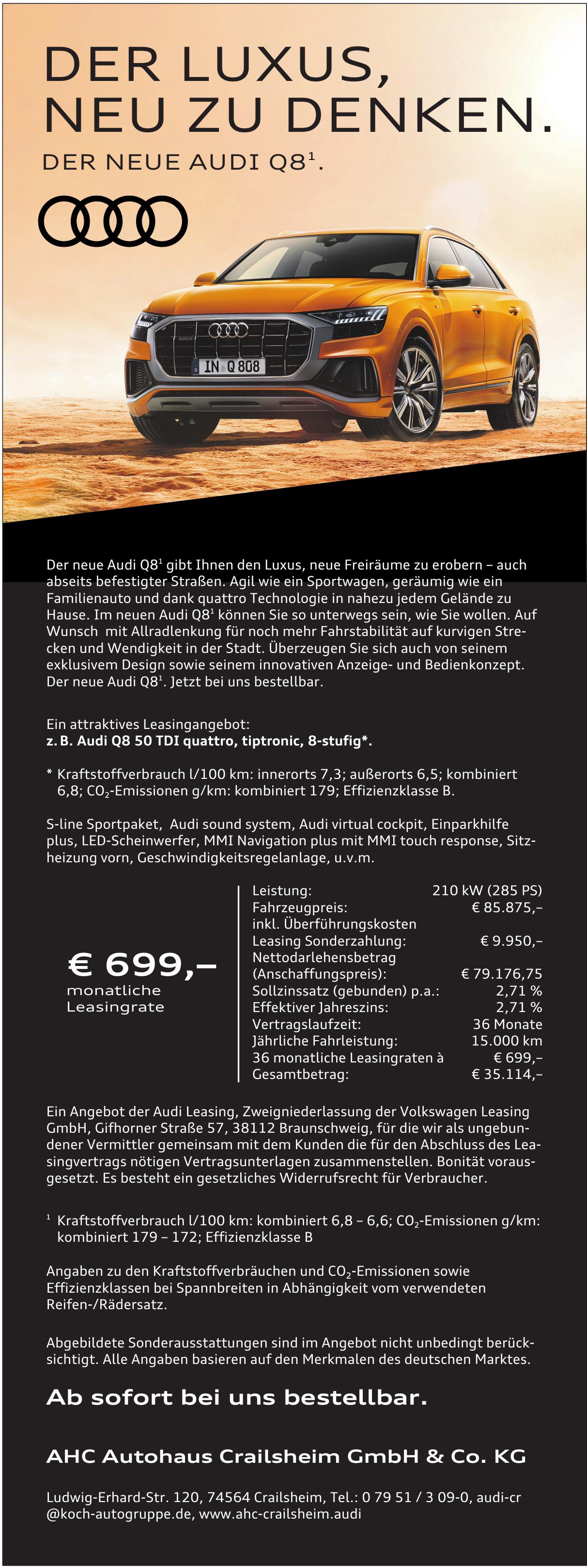 Neuer Audi Q8 Beim Ahc Autohaus Crailsheim