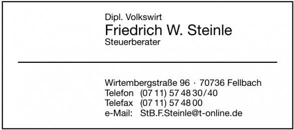 Dipl. Volkswirt Friedrich W. Steinle Steuerberater