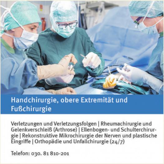 Handchirurgie, obere Extremität und Fußchirurgie