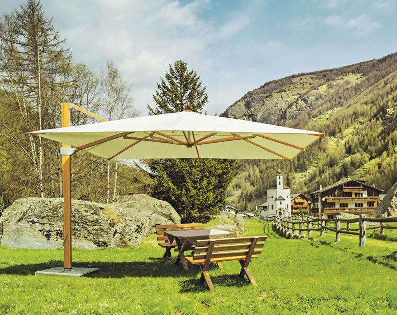 """Der Schirm """"Aura"""" macht optisch viel her und ist ein professioneller Sonnenschutz. GLATZ AG, Schweiz"""