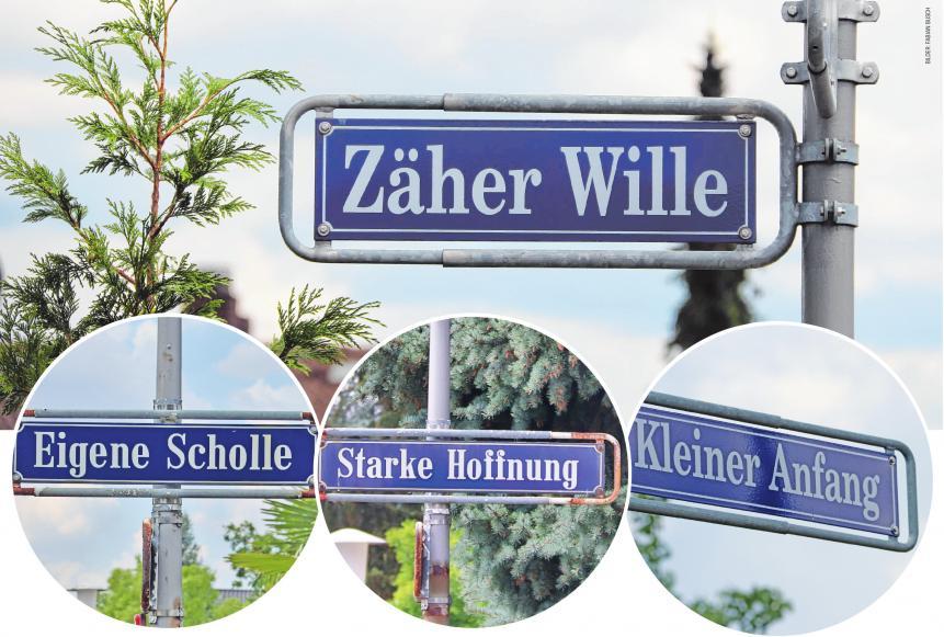 """Straßen des Mannheimer Waldhofs erzählen Geschichten über die Menschen, beispielsweise """"Kleiner Anfang"""", """"Zäher Wille"""" und """"Guten Fortschritt"""""""