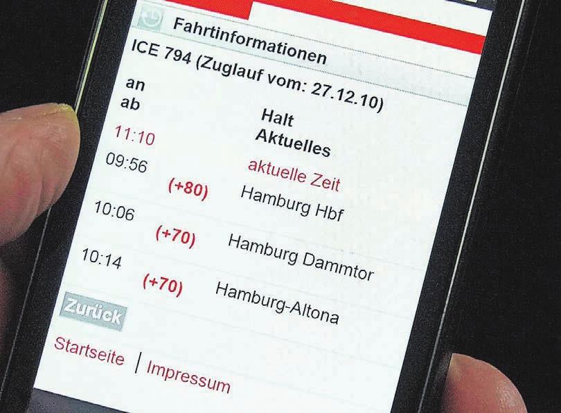 Schon heute zeigen die Apps der Verkehrsverbünde und der Bahn Verspätungen an. Zukünftig, so glaubt Ulrich Jaeger, empfiehlt die App anhand der Termine im Handykalender direkt die beste Verbindung. Foto: dpa