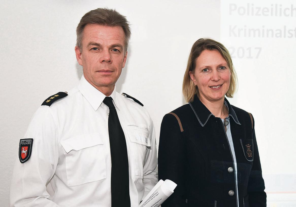 Der Celler Polizeiinspektionsleiter Eckart Pfeiffer (links) und die Leiterin des Zentralen Kriminaldienstes der Polizei Celle, Christine Reinert, stellten die Kriminalstatistik 2017 vor. Foto: Lisa Müller