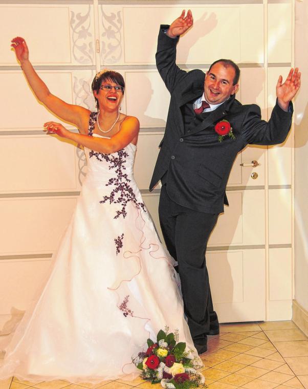 Christin und Chris Göhler aus Eberswalde haben im Dezember geheiratet. Foto: Foto Herr