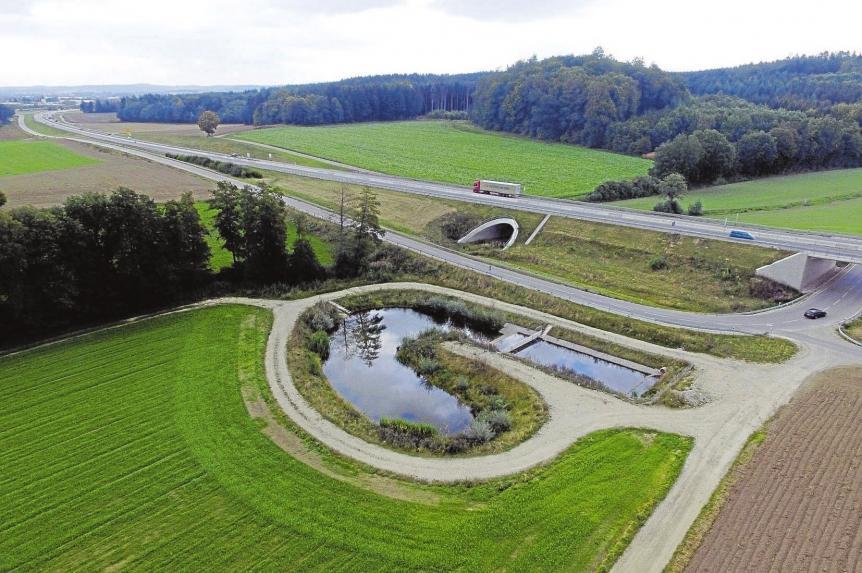 Drei gewaltige Regenrückhaltebecken fassen insgesamt 3000 Kubikmeter Wasser. Am Rand der Bundesstraße blüht und summt es.