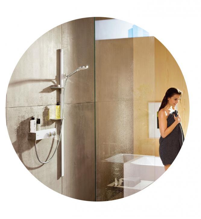 Komfortable Bedienung: Das Dusch-Set von Hansgrohe kombiniert Handbrause und Thermostat.