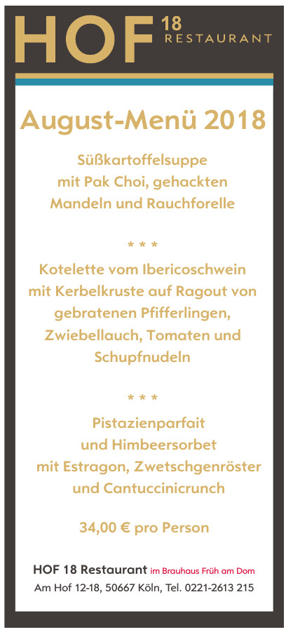 HOF 18 Restaurant im Brauhaus Früh am Dom