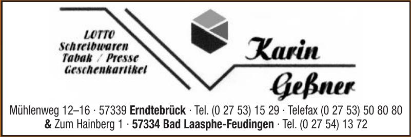 Karin Geßner Lotto, Schreibwaren, Tabek / Presse, Geschenkartikel