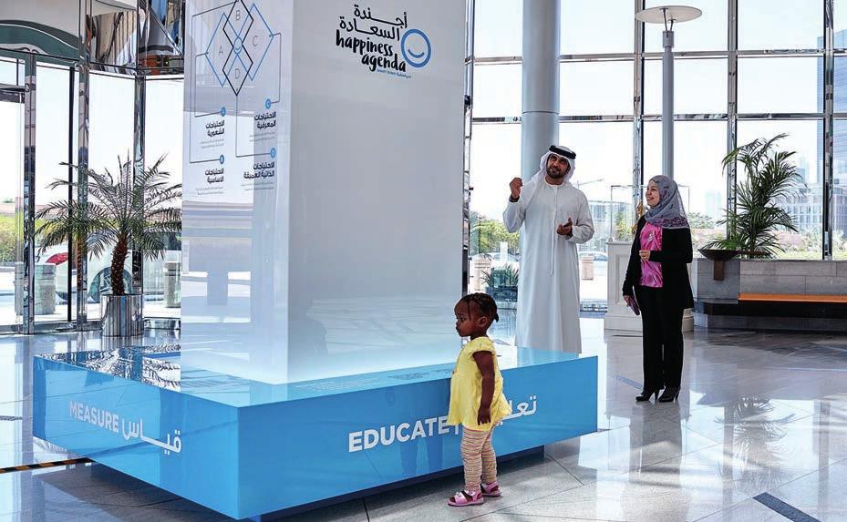 Eine Ausstellung in den Emirates Towers verdeutlicht die Strategie des Gücklichseins und wie das auf die Ökonomie wirkt.