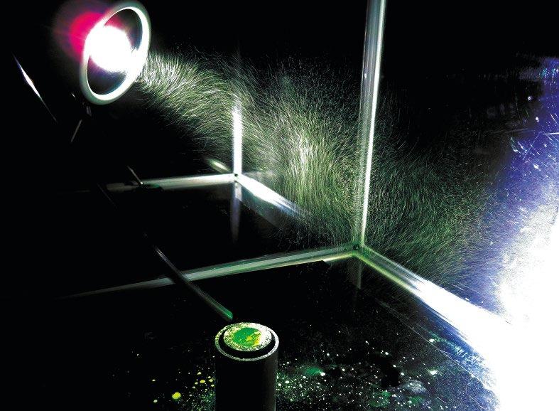 Abb. 1: Veranschaulichung schwebender Partikel mit Weißlicht