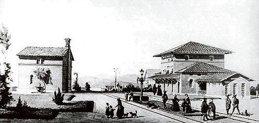 Der Bahnhof um 1847. Fotos: Elmar Pfandzelter