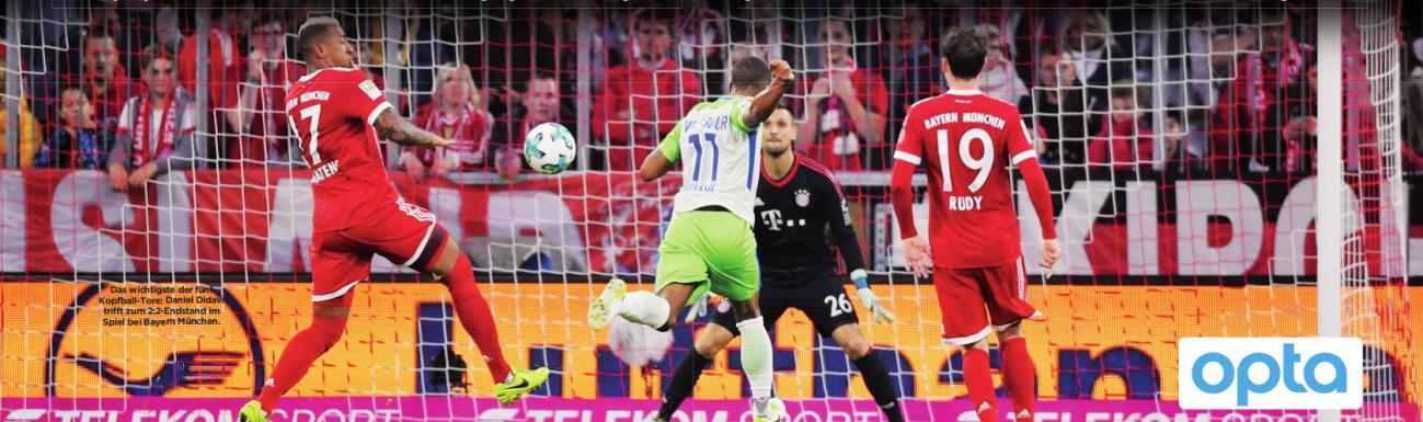 Das wichtigste der fünf Kopfball-Tore: Daniel Didavi trifft zum 2:2-Endstand im Spiel bei Bayern München.