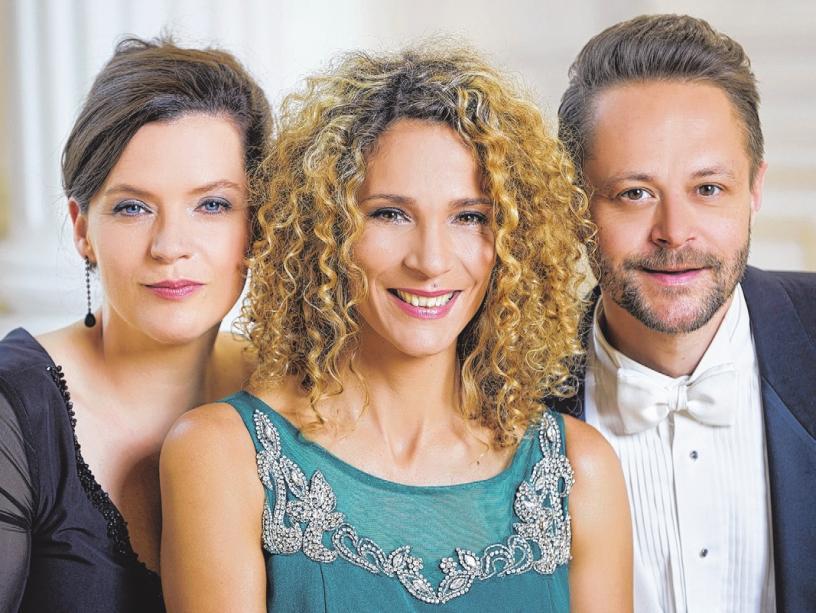Marie Giroux (Mezzosopran), Jenny Schäuffelen (Klavier) und Joseph Schnurr (Tenor, v.l.) entführen ihr Publikum musikalisch ins neue Jahr. Zu erleben sind die Künstler am 1. Januar 2019 im Theater der Residenzstadt. FOTO: AGENTUR