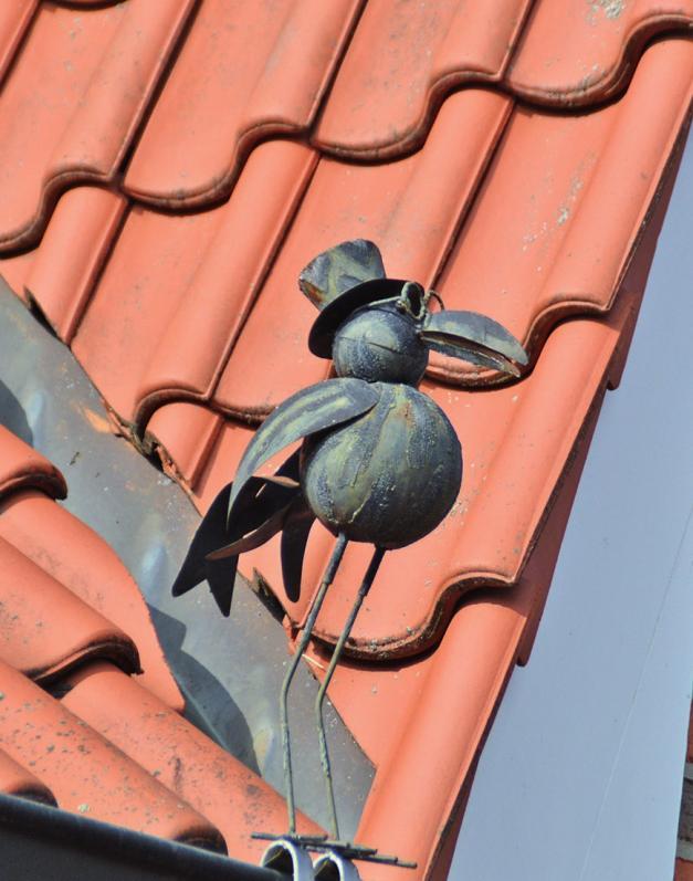 Bewohner mit Humor: Die lustige Krähe überblickt vom Dach den Eingangsbereich.