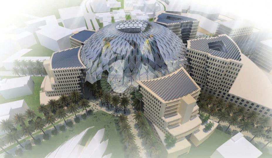 Über dem Pavillon der Vereinigten Arabischen Emirate (VAE) namens Al Wasl Plaza thront eine riesige Kuppel. Sie dient als 360-Grad-Projektionsfläche.
