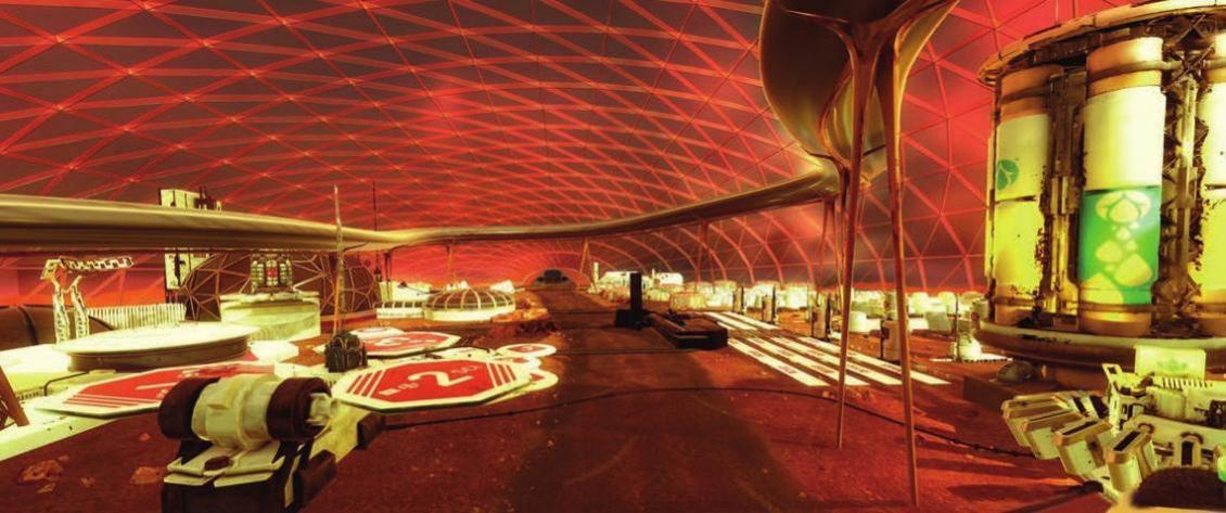 Leben auf dem Mars: So könnte die Stadt aussehen, die die Vereinigten Arabischen Emirate (VAE) auf dem Roten Planeten errichten wollen. Foto: Government Dubai, Media office