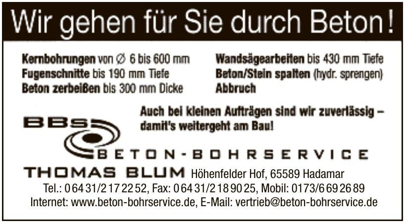 Beton Bohrservice Thoma Blum