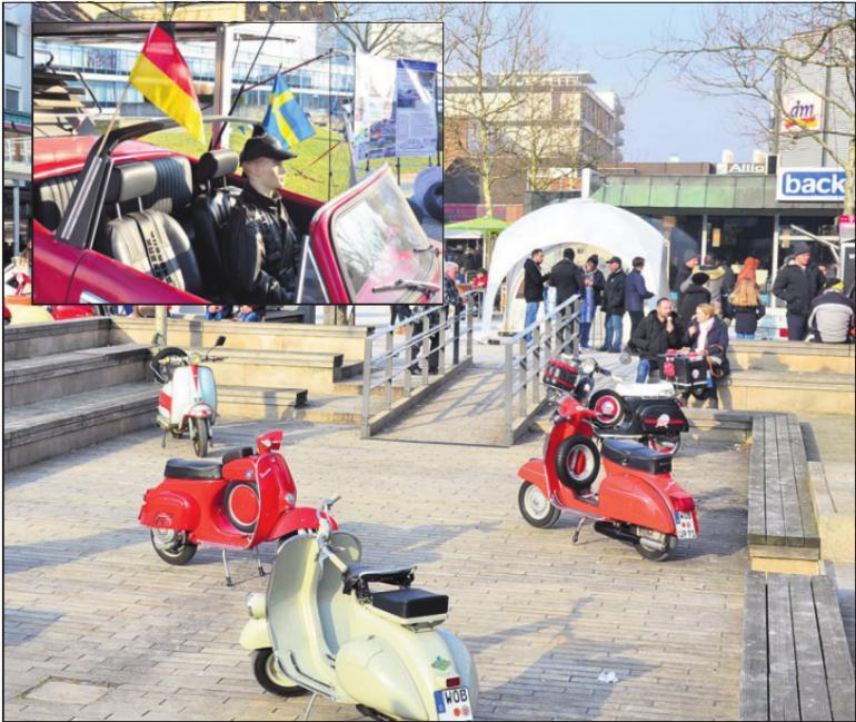 Der Vespa und der Käfer Club (kl. Foto) stellten ebenfalls in der Fußgängerzone aus.