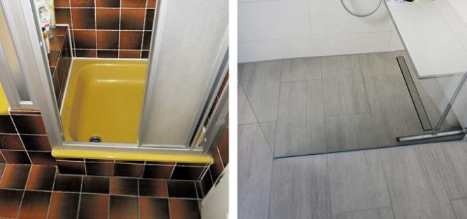 Vorher – nachher: Die neue bodengleiche Walk-in-Dusche mit Sitz und rutschhemmenden Fliesen bringt Sicherheit Foto: IFB
