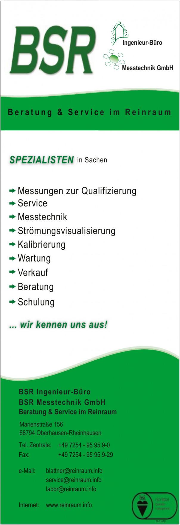 BSR Ingenieur-Büro | BSR Messtechnik GmbH | Beratung & Service im Reinraum