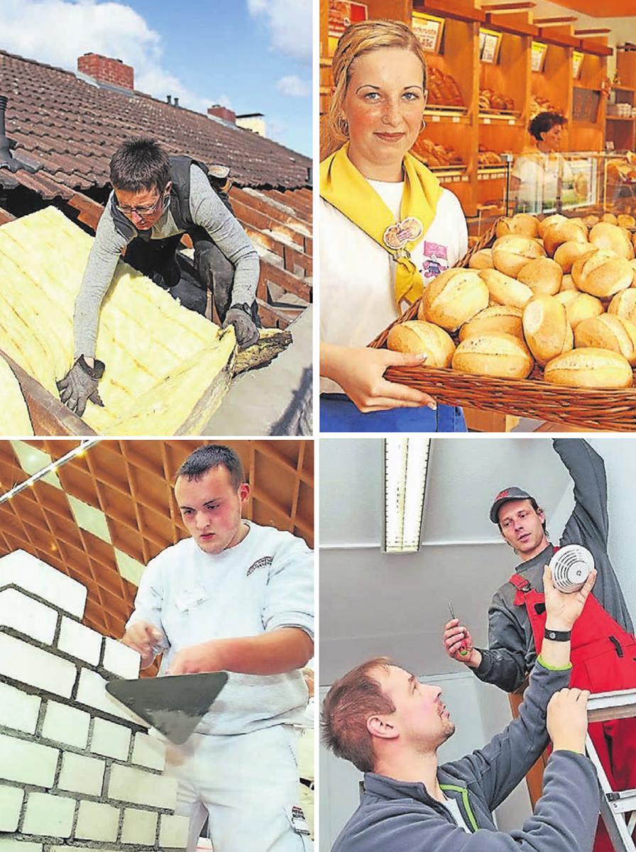 Ob Dachdecker, Bäcker, Maurer oder Elektrotechniker – heute kommt kein Handwerker mehr ohne digitales Knowhow und schnelles Internet aus. Fotos: dpa, Zentralverband des Bäckerhandwerks