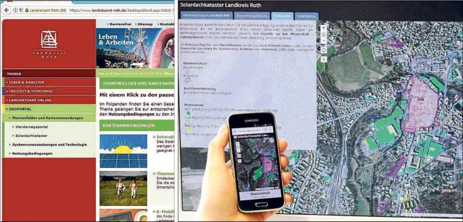Die Einfärbung der Flächen (rechts) zeigt im Geoportal die Eignung von Immobilien für die Photovoltaik- oder Solarthermienutzung. Fotos: ENA