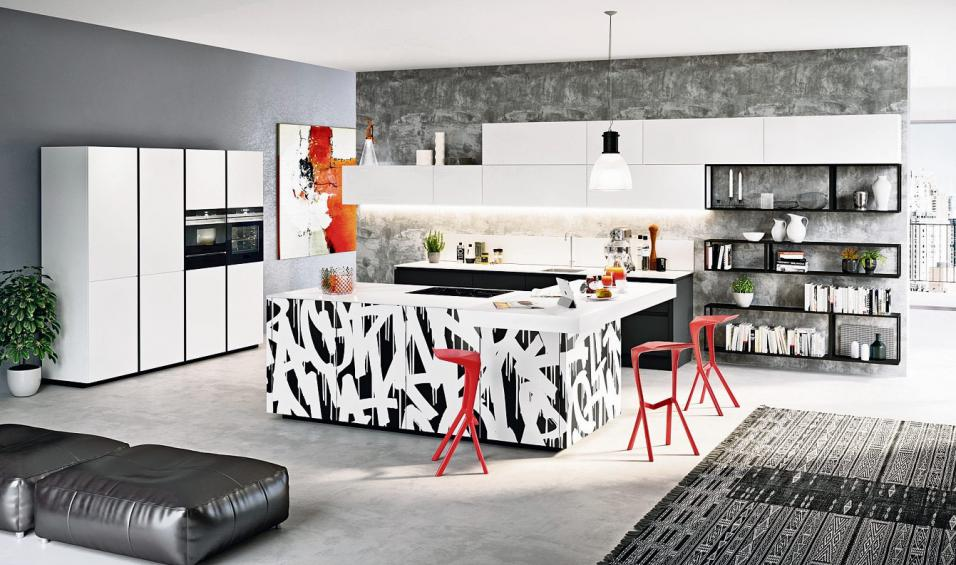 Eine moderne Wohnküche im offenen Grundriss wirkt großzügig und einladend