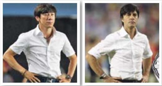 Wer ist das Original? Südkorea-Coach Tae Yong Shin wurde wegen seiner Optik schon mit dem jungen Joachim Löw verglichen (hier auf einem Bild von 2008).
