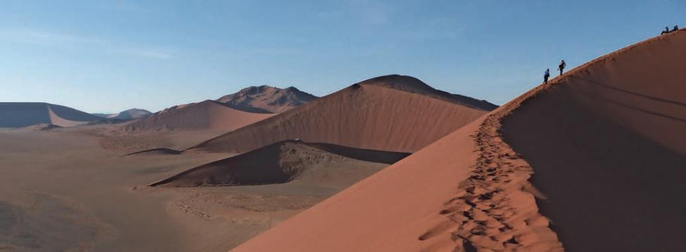 Im Sossusvlei faszinieren die roten Dünen, die zu den höchsten der Welt zählen: Je intensiver der Rotton, desto älter ist die Düne. Fotos: Julia Heitchen