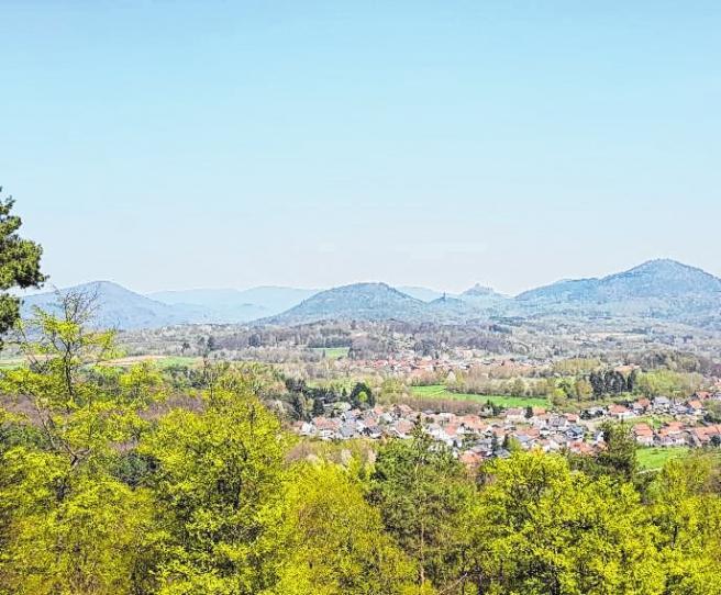 Der Vier-Burgen-Blick bei Gossersweiler-Stein liegt direkt am Felsenweg.Bild: Verein Südliche Weinstrasse Annweiler am Trifels