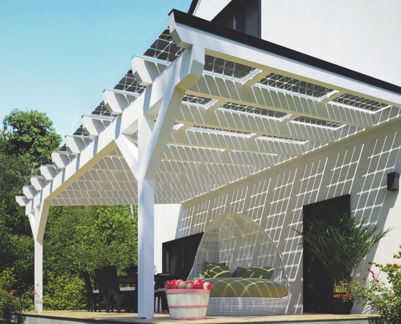 Schattenspender und privates Kraftwerk in einem: solarbetriebene Terrassendächer machen sich bezahlt.Foto: djd/solarcarporte.de