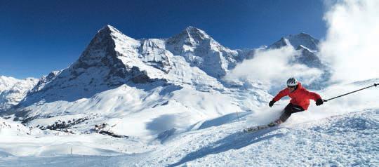 Traum in Weiß: Skifahren auf der Kleinen Scheidegg vor Eiger, Mönch und Jungfrau. Fotos: swiss-image.ch/Christof Sonderegger