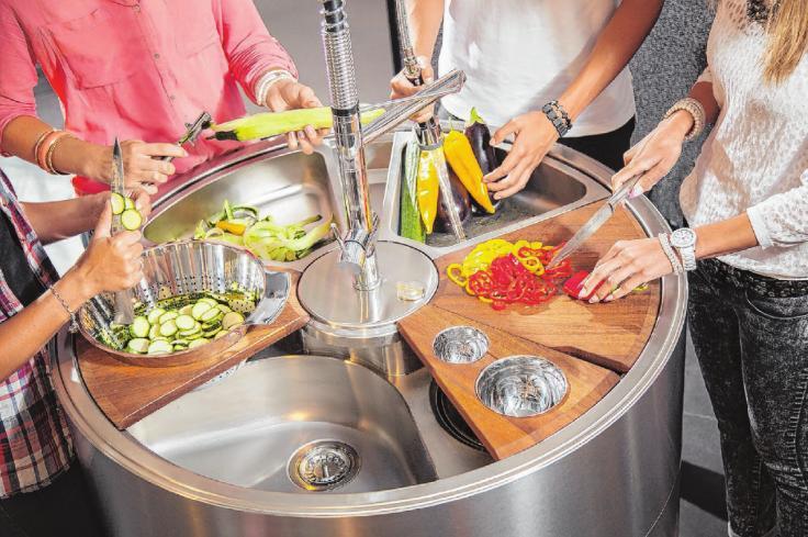 Wer viel Gemüse verarbeitet, braucht mehrere Spülbecken