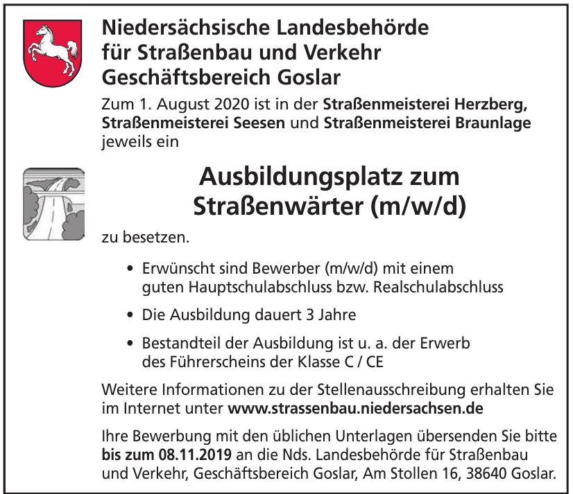 Niedersächsische Landesbehörde für Straßenbau und Verkehr Geschäftsbereich Goslar
