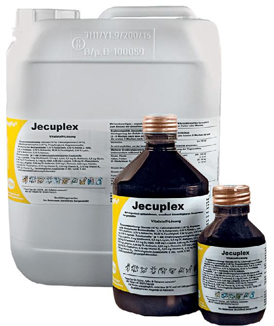 VeyFo® Jecuplex wird für Hobbygeflügelbestände in einer 100- und 500-ml-Flasche und für Wirtschaftsgeflügelbestände in einem 5-Liter- Kanister angeboten und ist in der Tierarztpraxis erhältlich. Fotos: Veyx
